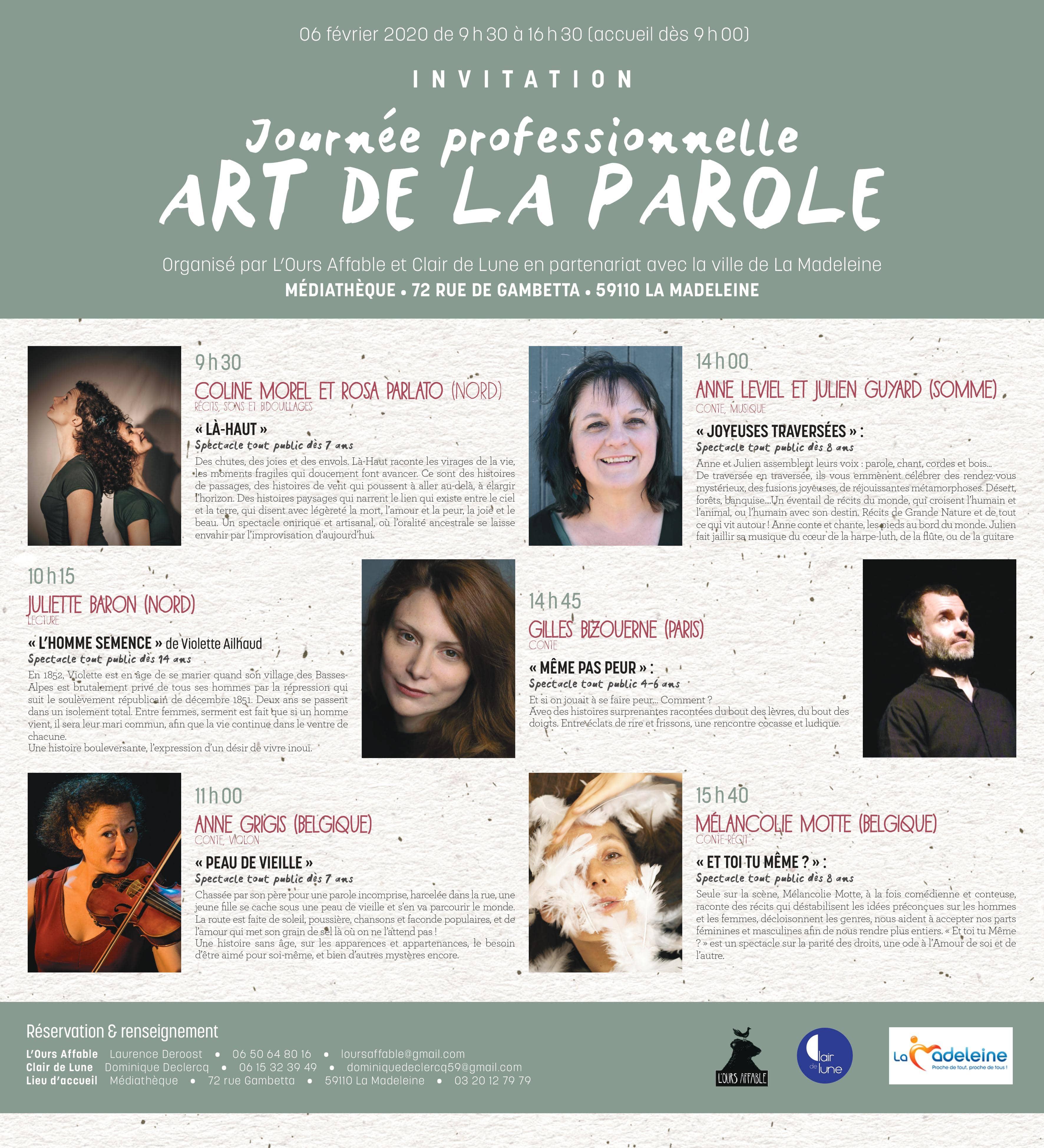 Journée professionnelle Art de la Parole - La Madeleine (59)
